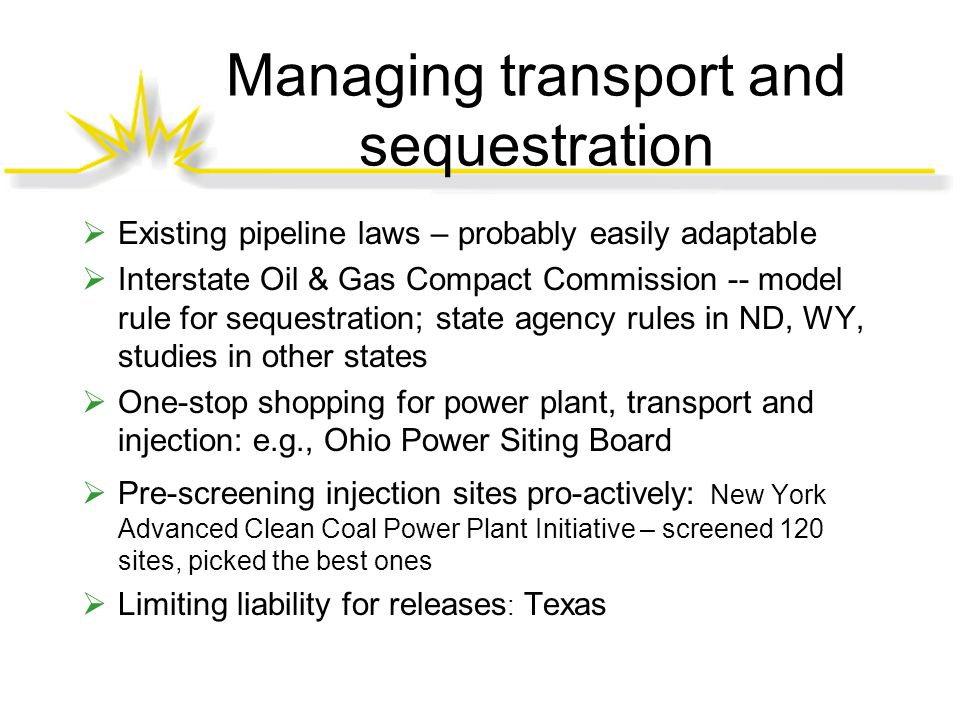 Managing transport and sequestration  Existing pipeline laws – probably easily adaptable  Interstate Oil & Gas Compact Commission -- model rule for sequestration; state agency rules in ND, WY, studies in other states  One-stop shopping for power plant, transport and injection: e.g., Ohio Power Siting Board  Pre-screening injection sites pro-actively: New York Advanced Clean Coal Power Plant Initiative – screened 120 sites, picked the best ones  Limiting liability for releases : Texas