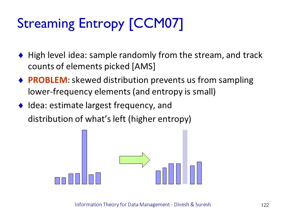 Streaming Entropy [CCM07]  High level idea: sample randomly from the stream, and track counts of elements picked [AMS]  PROBLEM: skewed distribution prevents us from sampling lower-frequency elements (and entropy is small)  Idea: estimate largest frequency, and distribution of what's left (higher entropy) 122 Information Theory for Data Management - Divesh & Suresh