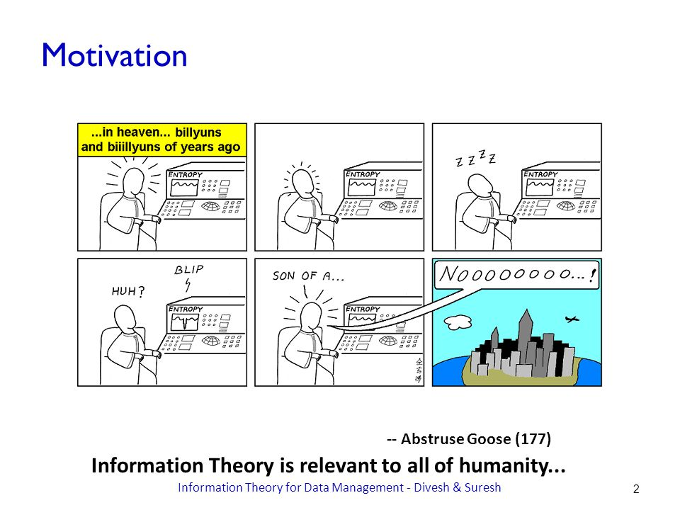 -- Abstruse Goose (177) Motivation Information Theory is relevant to all of humanity...