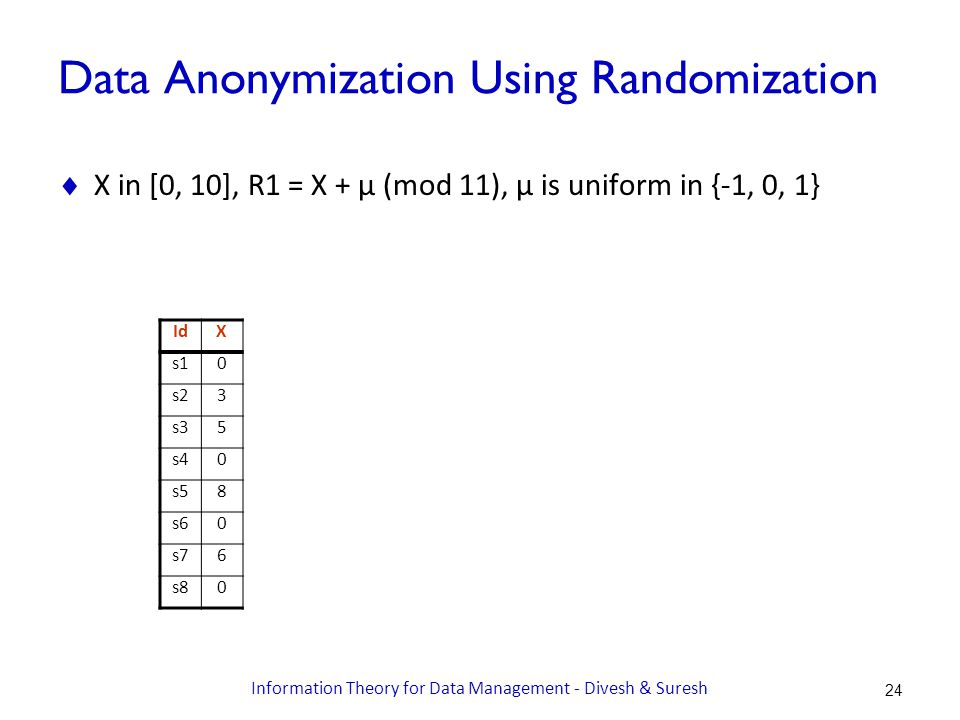 Data Anonymization Using Randomization  X in [0, 10], R1 = X + μ (mod 11), μ is uniform in {-1, 0, 1} IdX s10 s23 s35 s40 s58 s60 s76 s80 24 Information Theory for Data Management - Divesh & Suresh