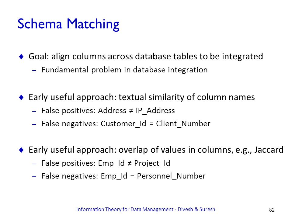 Schema Matching  Goal: align columns across database tables to be integrated – Fundamental problem in database integration  Early useful approach: textual similarity of column names – False positives: Address ≠ IP_Address – False negatives: Customer_Id = Client_Number  Early useful approach: overlap of values in columns, e.g., Jaccard – False positives: Emp_Id ≠ Project_Id – False negatives: Emp_Id = Personnel_Number 82 Information Theory for Data Management - Divesh & Suresh