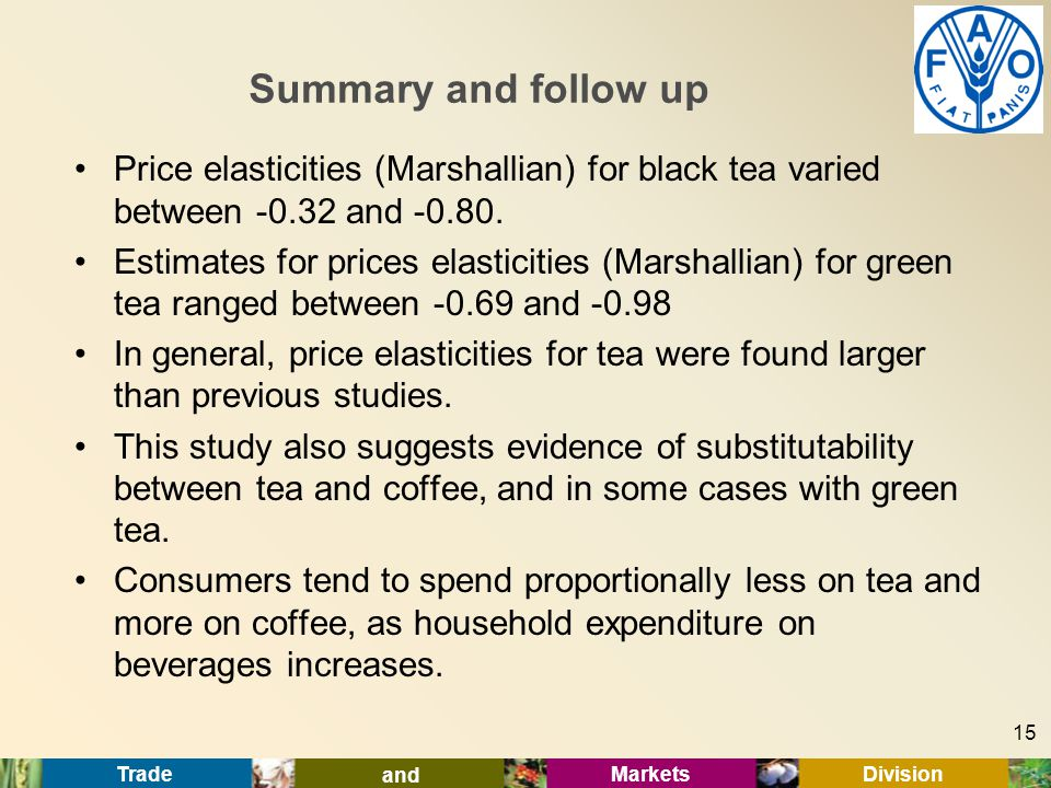 Trade and Markets Division Summary and follow up Price elasticities (Marshallian) for black tea varied between -0.32 and -0.80.