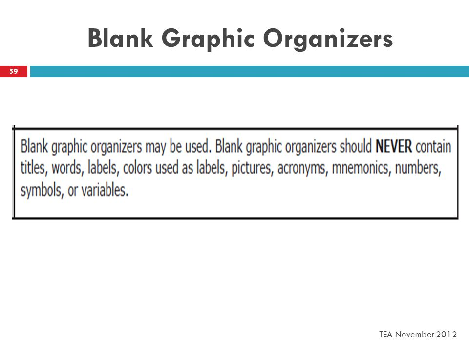 Blank Graphic Organizers 59 TEA November 2012