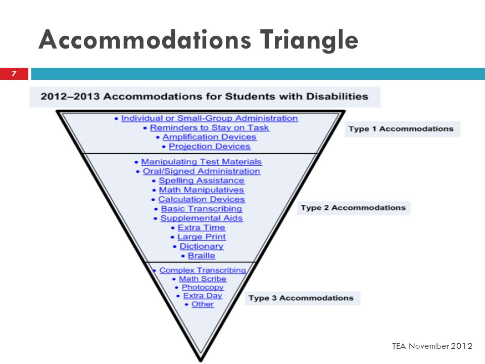 Accommodations Triangle 7 TEA November 2012