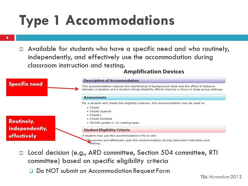 Type 1 Accommodations  Available for students who have a specific need and who routinely, independently, and effectively use the accommodation during classroom instruction and testing.