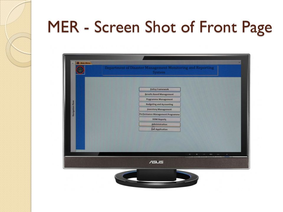 MER - Screen Shot of Front Page