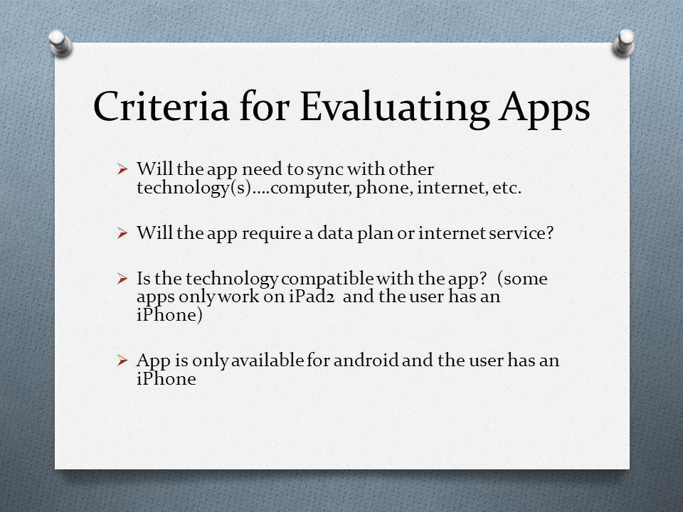 Criteria for Evaluating Apps  Will the app need to sync with other technology(s)….computer, phone, internet, etc.
