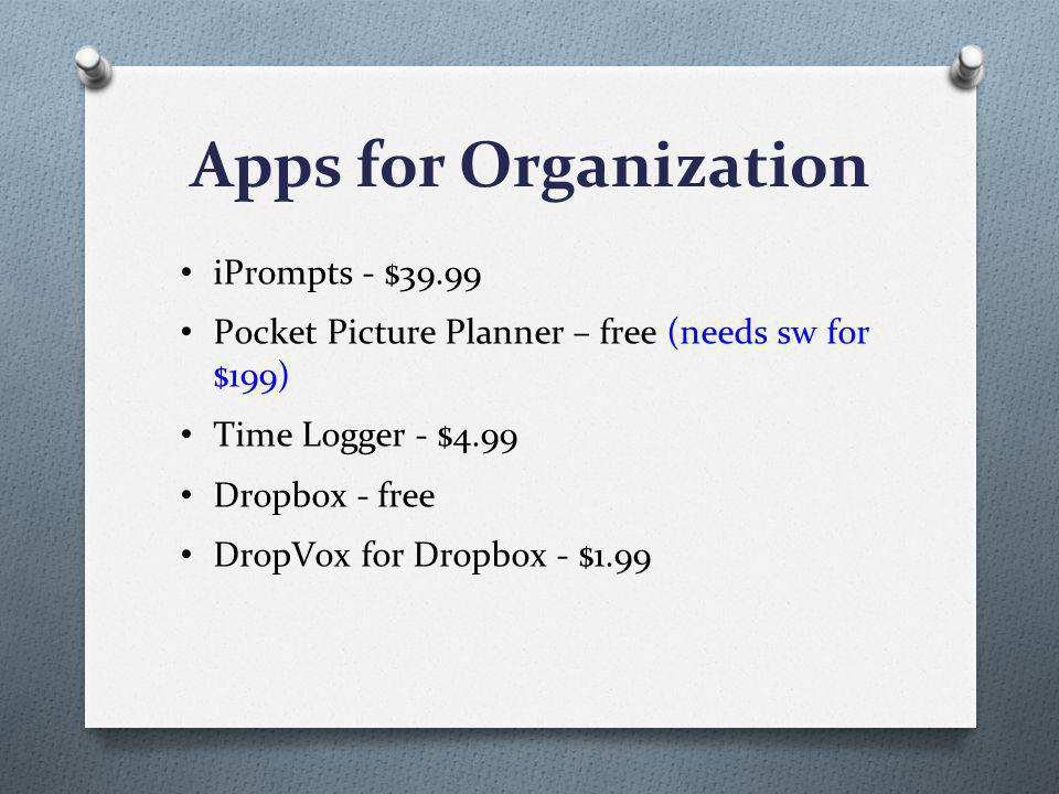 Apps for Organization iPrompts - $39.99 Pocket Picture Planner – free (needs sw for $199) Time Logger - $4.99 Dropbox - free DropVox for Dropbox - $1.99