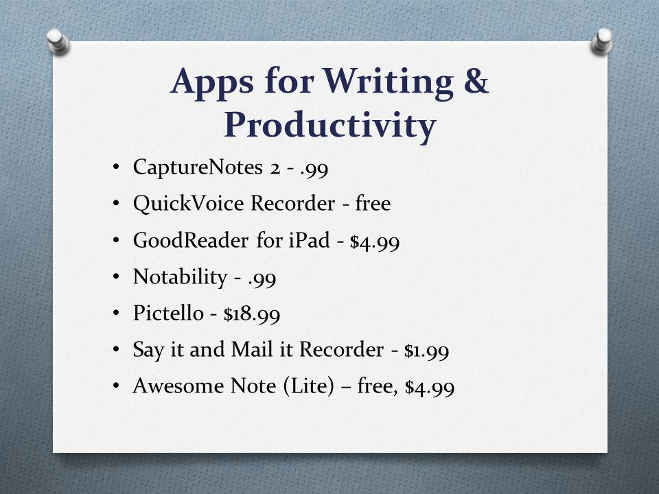 Apps for Writing & Productivity CaptureNotes 2 -.99 QuickVoice Recorder - free GoodReader for iPad - $4.99 Notability -.99 Pictello - $18.99 Say it and Mail it Recorder - $1.99 Awesome Note (Lite) – free, $4.99