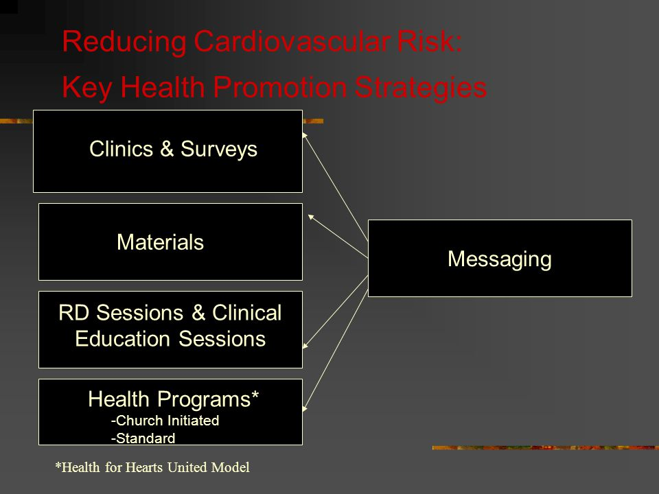 Reducing Cardiovascular Risk: Key Health Promotion Strategies Messaging RD Sessions & Clinical Education Sessions Health Programs* -Church Initiated -Standard Materials Clinics & Surveys *Health for Hearts United Model