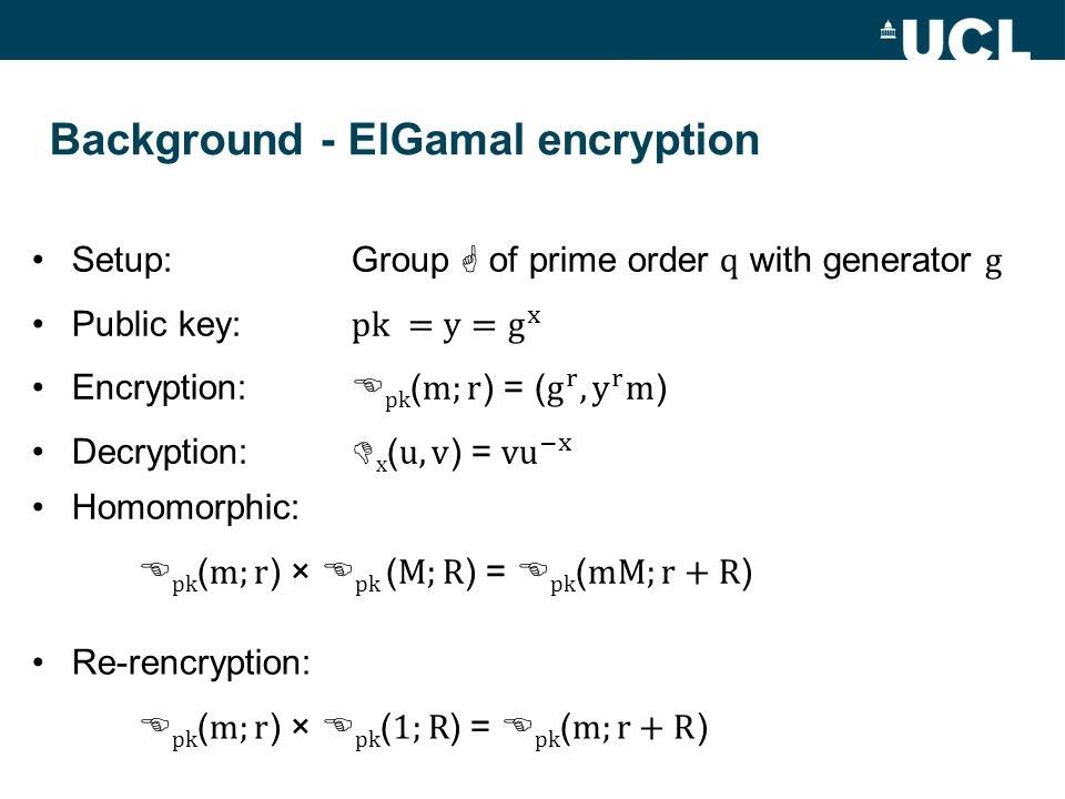 Background - ElGamal encryption
