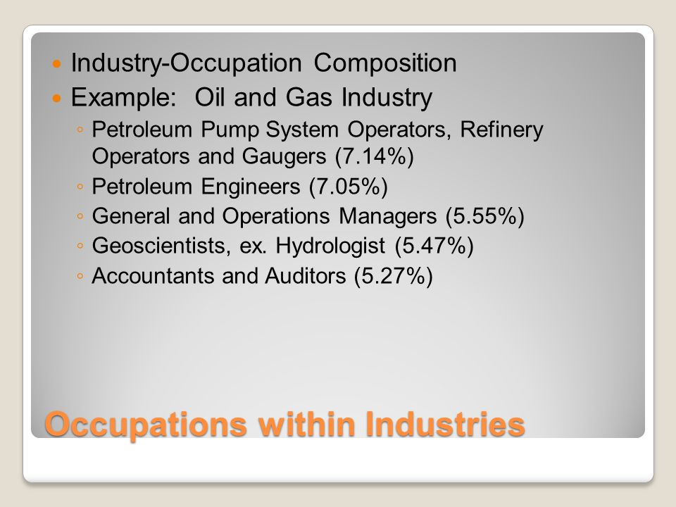 Occupations within Industries Industry-Occupation Composition Example: Oil and Gas Industry ◦ Petroleum Pump System Operators, Refinery Operators and Gaugers (7.14%) ◦ Petroleum Engineers (7.05%) ◦ General and Operations Managers (5.55%) ◦ Geoscientists, ex.
