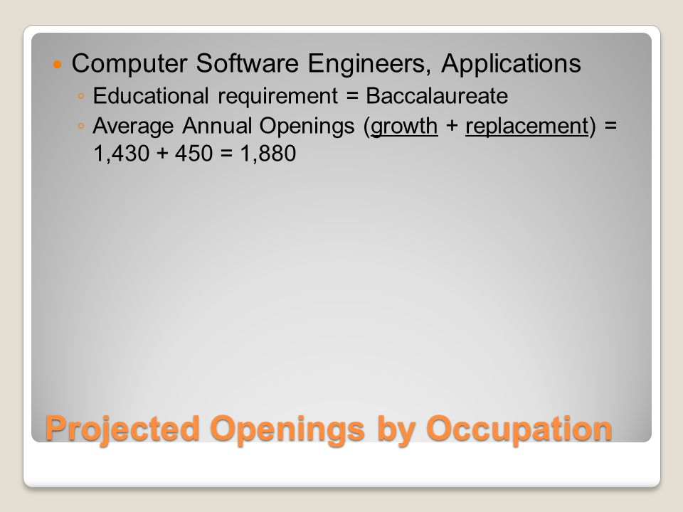 Projected Openings by Occupation Computer Software Engineers, Applications ◦ Educational requirement = Baccalaureate ◦ Average Annual Openings (growth + replacement) = 1,430 + 450 = 1,880