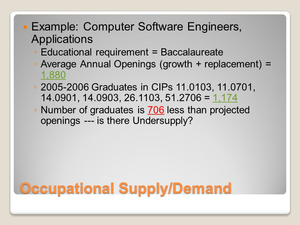 Occupational Supply/Demand Example: Computer Software Engineers, Applications ◦ Educational requirement = Baccalaureate ◦ Average Annual Openings (growth + replacement) = 1,880 ◦ 2005-2006 Graduates in CIPs 11.0103, 11.0701, 14.0901, 14.0903, 26.1103, 51.2706 = 1,174 ◦ Number of graduates is 706 less than projected openings --- is there Undersupply