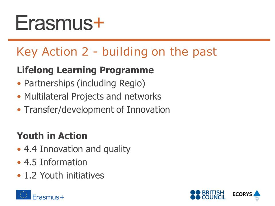 Key Action 2 - building on the past Lifelong Learning Programme Partnerships (including Regio) Multilateral Projects and networks Transfer/development of Innovation Youth in Action 4.4 Innovation and quality 4.5 Information 1.2 Youth initiatives