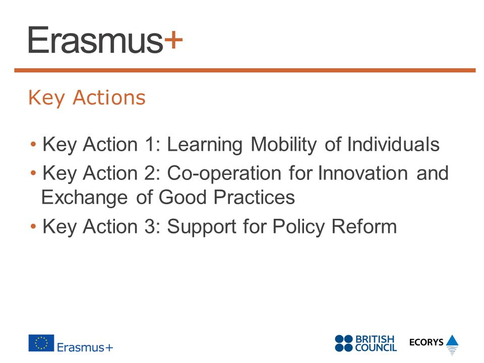 Key Actions Key Action 1: Learning Mobility of Individuals Key Action 2: Co-operation for Innovation and Exchange of Good Practices Key Action 3: Support for Policy Reform