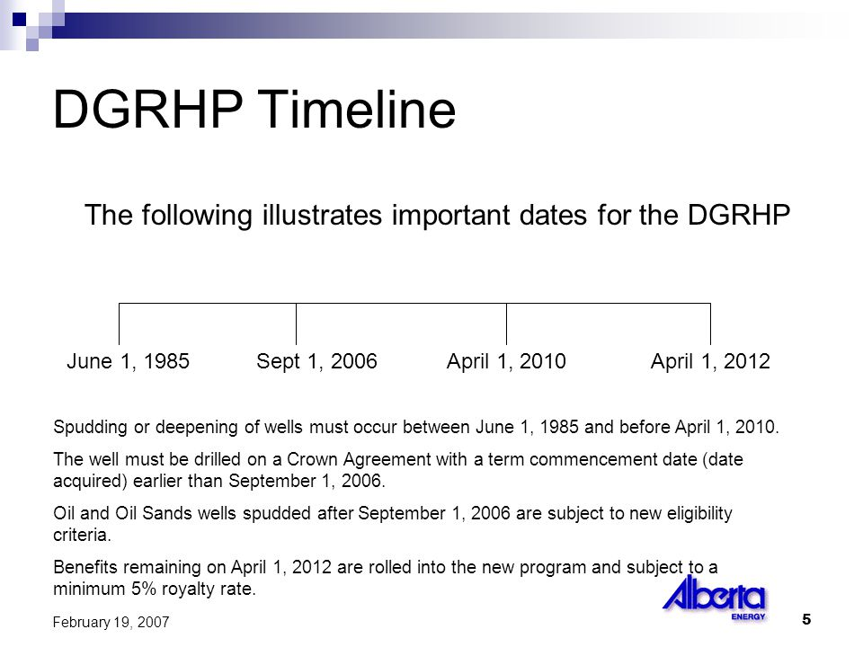 5 February 19, 2007 DGRHP Timeline The following illustrates important dates for the DGRHP June 1, 1985Sept 1, 2006April 1, 2010April 1, 2012 Spudding or deepening of wells must occur between June 1, 1985 and before April 1, 2010.