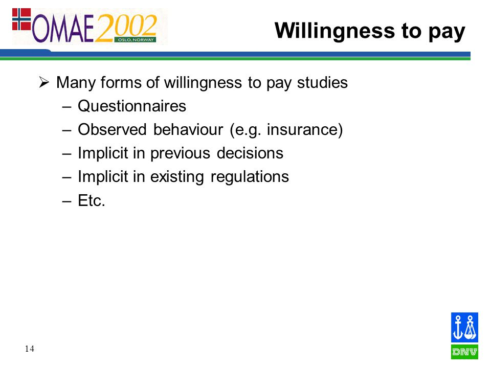 14 Willingness to pay  Many forms of willingness to pay studies –Questionnaires –Observed behaviour (e.g.