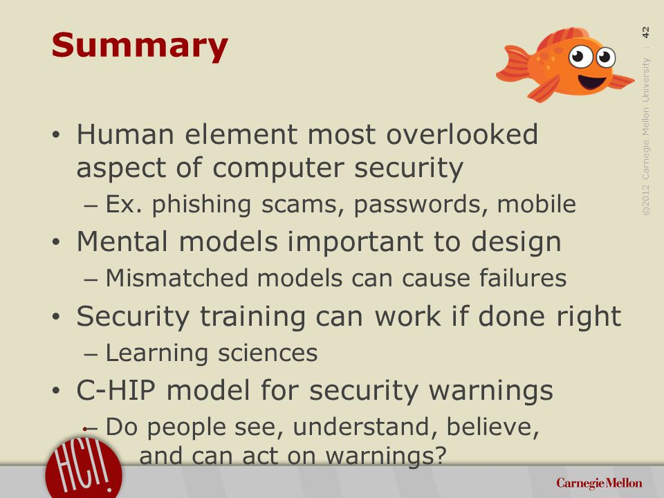 ©2012 Carnegie Mellon University : 42 Summary Human element most overlooked aspect of computer security – Ex.