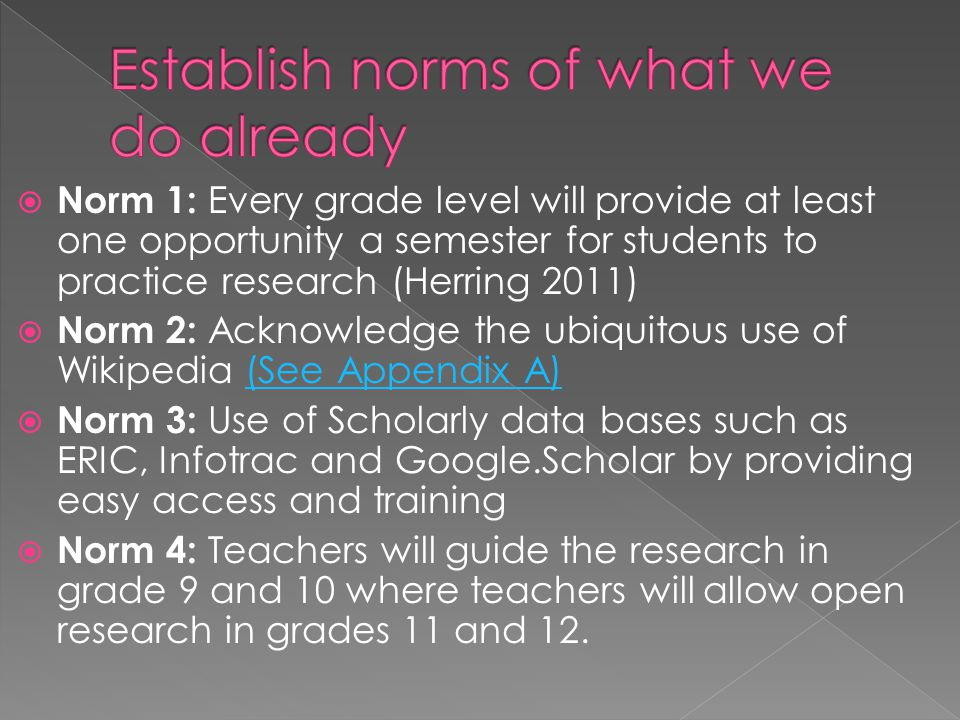  Norm 1: Every grade level will provide at least one opportunity a semester for students to practice research (Herring 2011)  Norm 2: Acknowledge the ubiquitous use of Wikipedia (See Appendix A)(See Appendix A)  Norm 3: Use of Scholarly data bases such as ERIC, Infotrac and Google.Scholar by providing easy access and training  Norm 4: Teachers will guide the research in grade 9 and 10 where teachers will allow open research in grades 11 and 12.