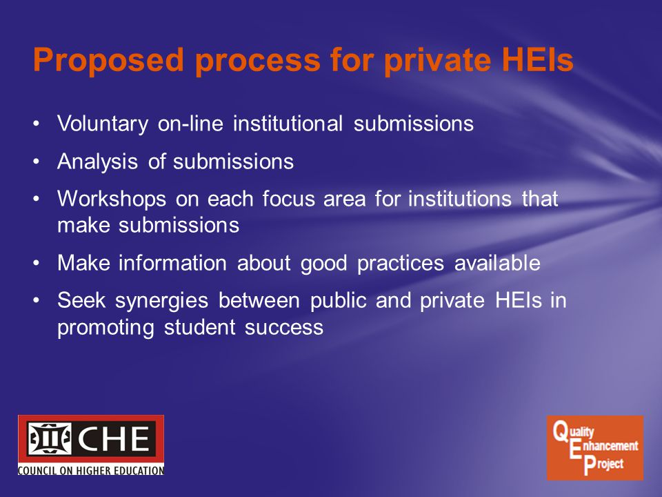 Proposed process for private HEIs Voluntary on-line institutional submissions Analysis of submissions Workshops on each focus area for institutions that make submissions Make information about good practices available Seek synergies between public and private HEIs in promoting student success
