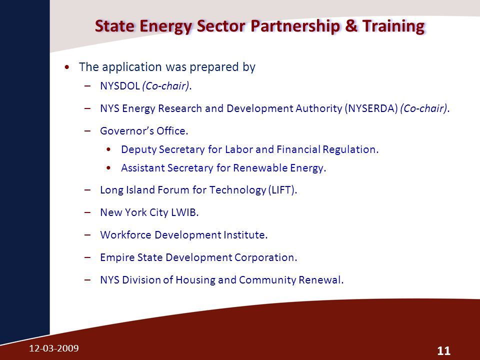 State Energy Sector Partnership & Training The application was prepared by –NYSDOL (Co-chair).