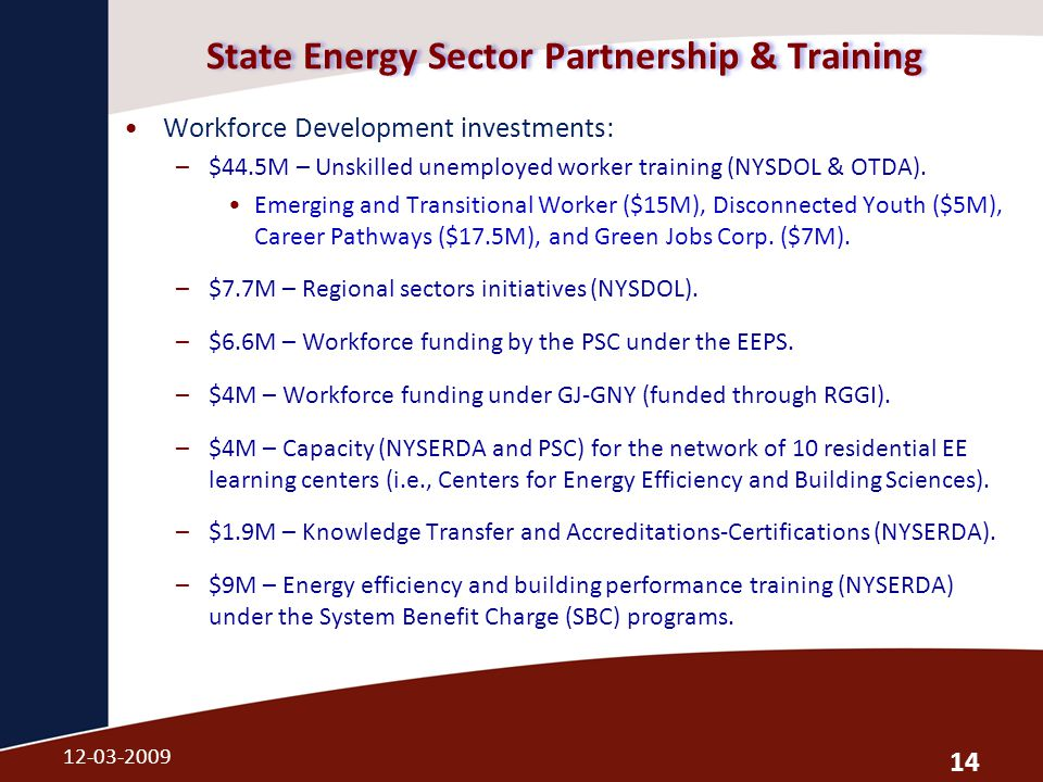State Energy Sector Partnership & Training Workforce Development investments: –$44.5M – Unskilled unemployed worker training (NYSDOL & OTDA).