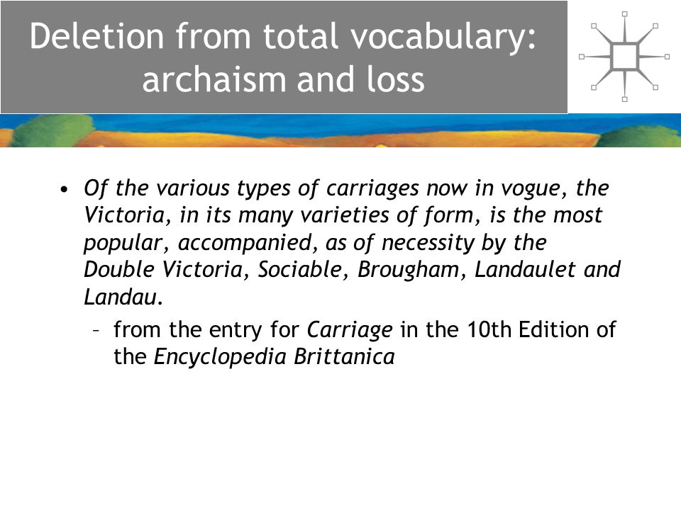 Deletion from total vocabulary: archaism and loss Of the various types of carriages now in vogue, the Victoria, in its many varieties of form, is the most popular, accompanied, as of necessity by the Double Victoria, Sociable, Brougham, Landaulet and Landau.
