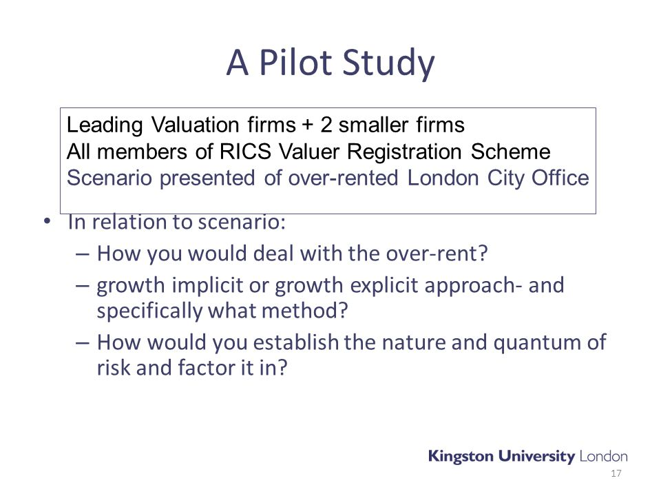 A Pilot Study In relation to scenario: – How you would deal with the over-rent.