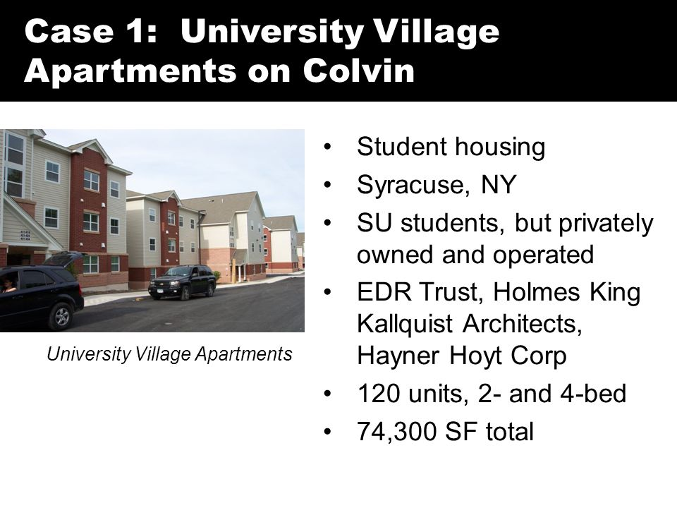 Case 1: University Village Apartments on Colvin University Village Apartments Student housing Syracuse, NY SU students, but privately owned and operated EDR Trust, Holmes King Kallquist Architects, Hayner Hoyt Corp 120 units, 2- and 4-bed 74,300 SF total