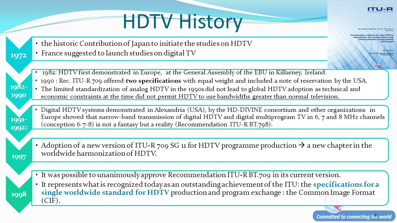 HDTV History 1972 the historic Contribution of Japan to initiate the studies on HDTV France suggested to launch studies on digital TV 1982- 1990 1982: HDTV first demonstrated in Europe, at the General Assembly of the EBU in Killarney, Ireland.
