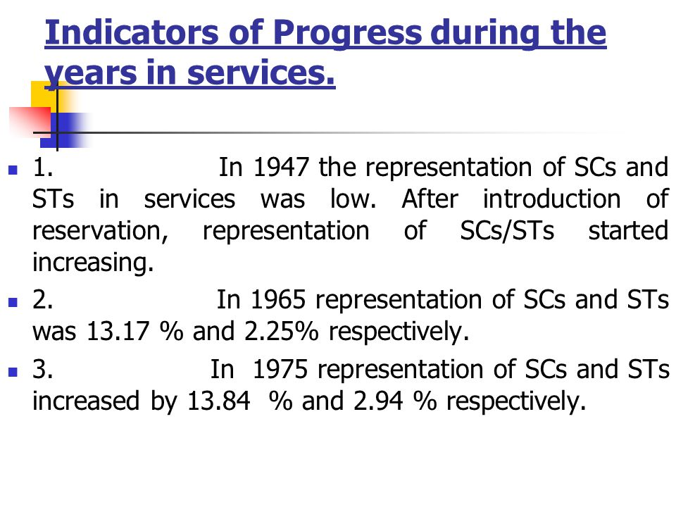 Indicators of Progress during the years in services.