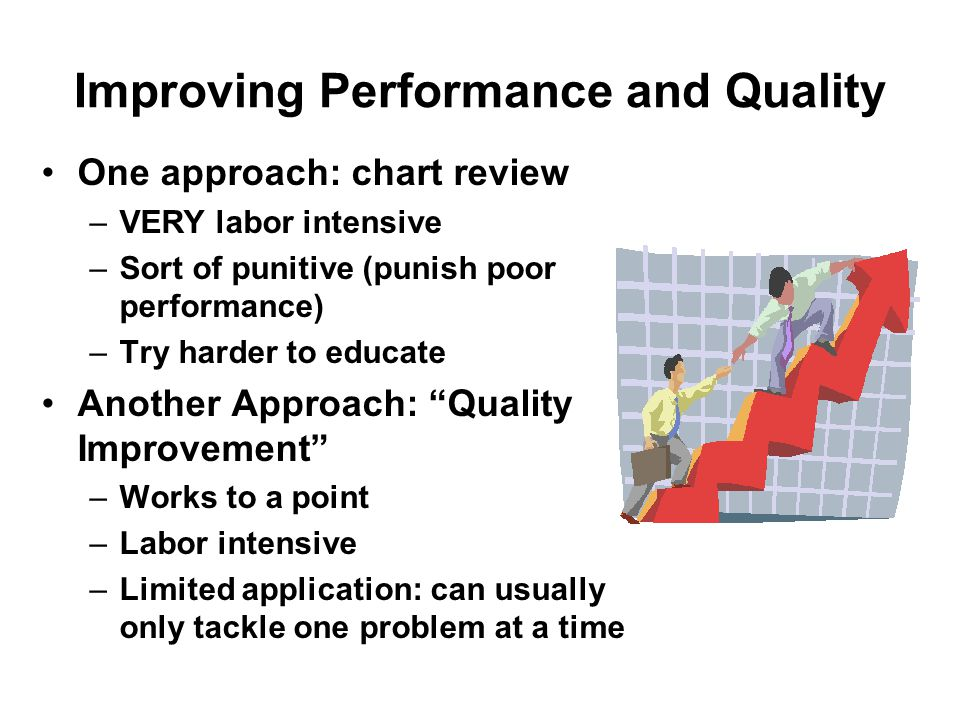 Improving Performance and Quality One approach: chart review –VERY labor intensive –Sort of punitive (punish poor performance) –Try harder to educate Another Approach: Quality Improvement –Works to a point –Labor intensive –Limited application: can usually only tackle one problem at a time