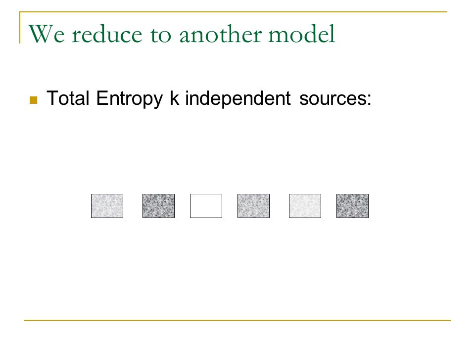 We reduce to another model Total Entropy k independent sources: