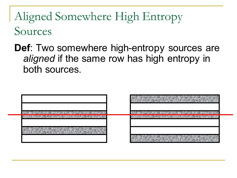 Aligned Somewhere High Entropy Sources Def: Two somewhere high-entropy sources are aligned if the same row has high entropy in both sources.