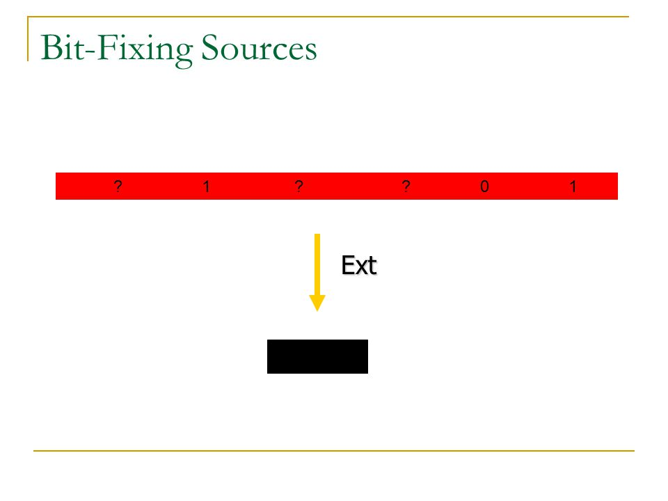 Bit-Fixing Sources 1 0 1 Ext