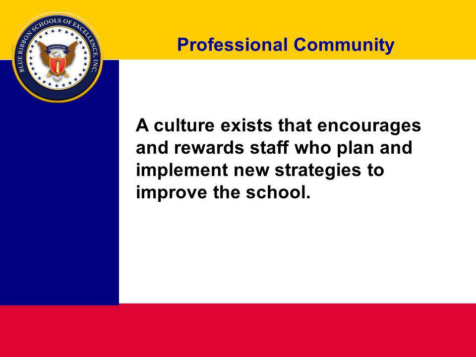 Professional Community A culture exists that encourages and rewards staff who plan and implement new strategies to improve the school.