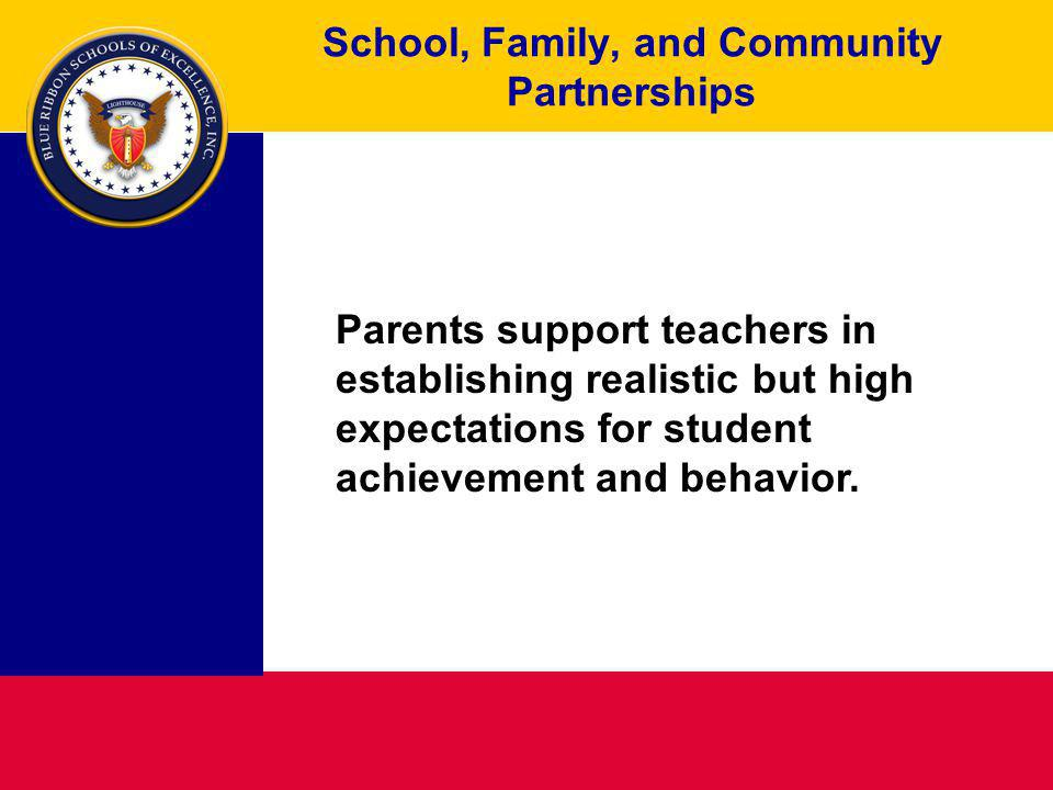 School, Family, and Community Partnerships Parents support teachers in establishing realistic but high expectations for student achievement and behavior.