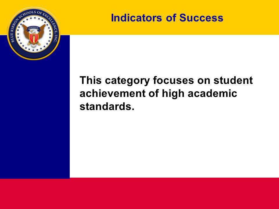 Indicators of Success This category focuses on student achievement of high academic standards.