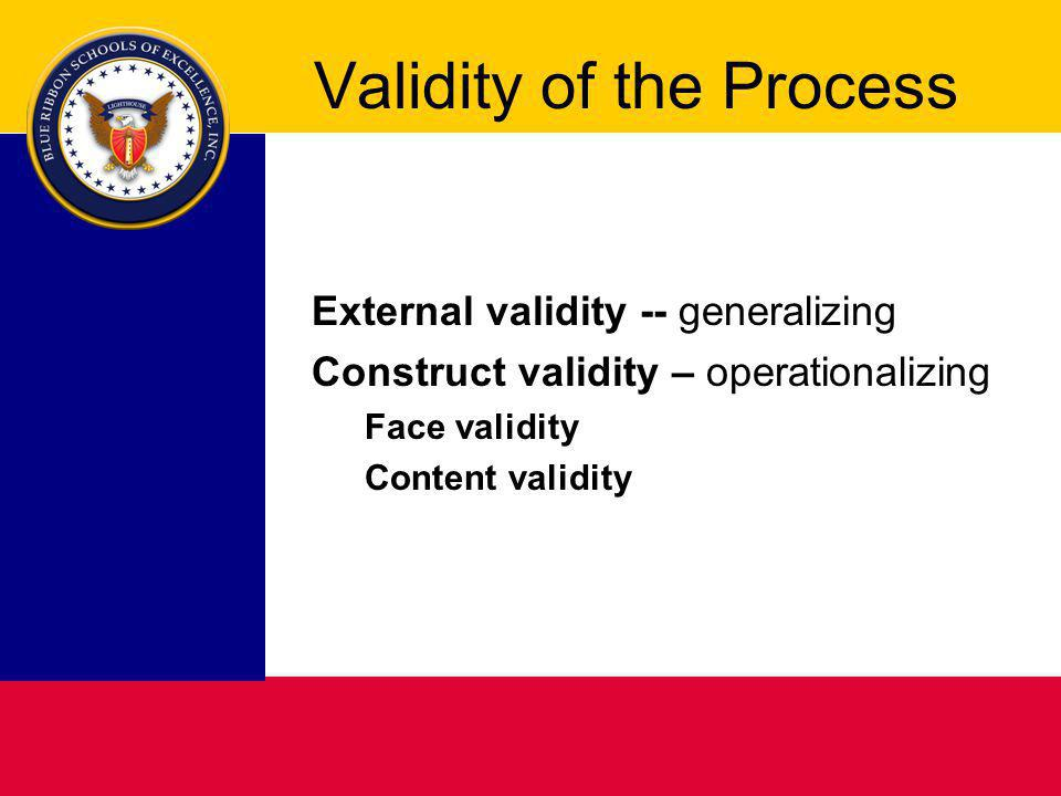 Validity of the Process External validity -- generalizing Construct validity – operationalizing Face validity Content validity