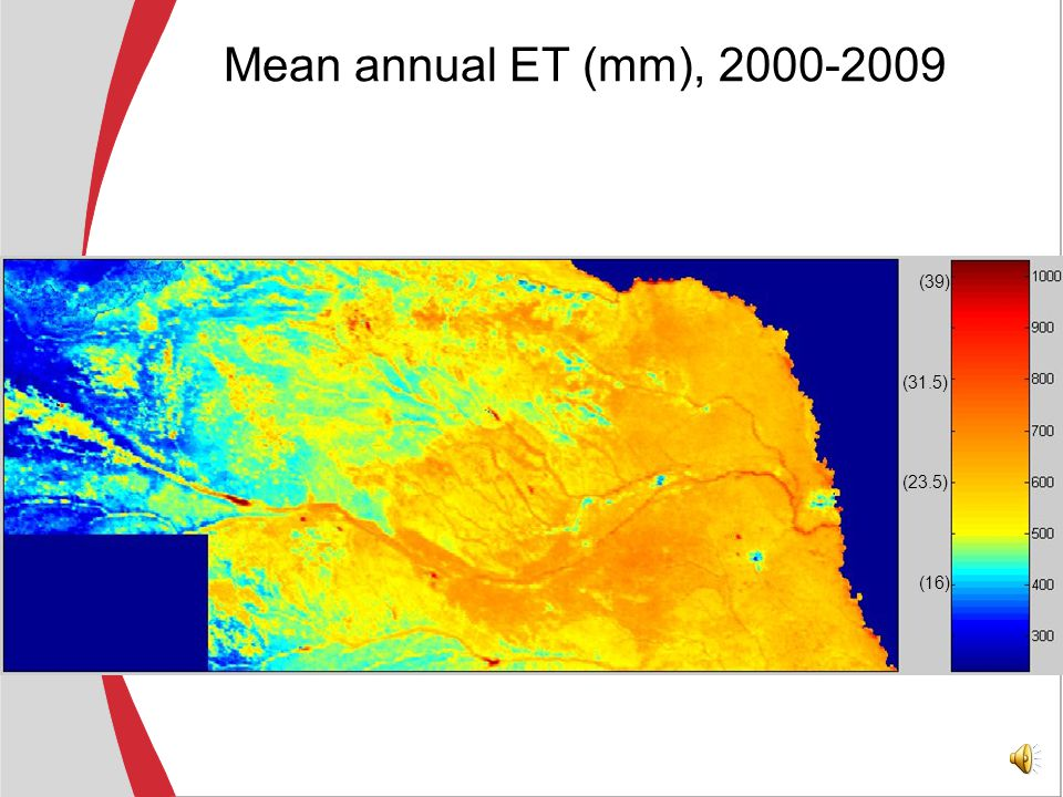 Application of the transformation equation The T s – ET transformation is done on a monthly basis for altogether 8 regions in Nebraska The monthly time-step eliminates cloud contamination of the MODIS pixels It is the typical time-step of hydrologic models Input data: T s (MODIS), T a, T d, R s (from PRISM & GEWEX)