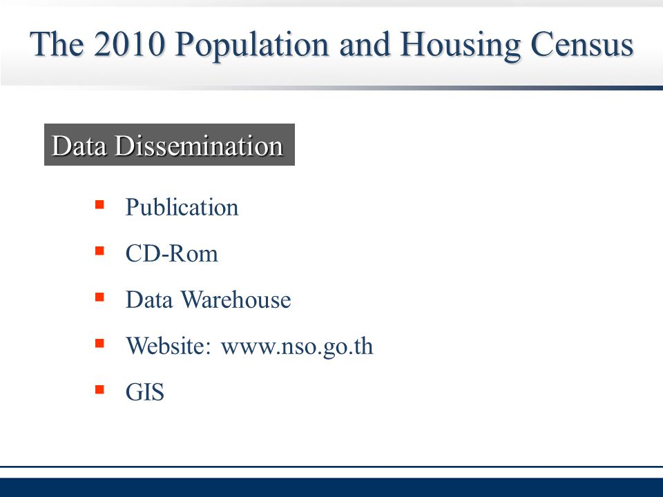 The 2010 Population and Housing Census Data Dissemination  Publication  CD-Rom  Data Warehouse  Website: www.nso.go.th  GIS