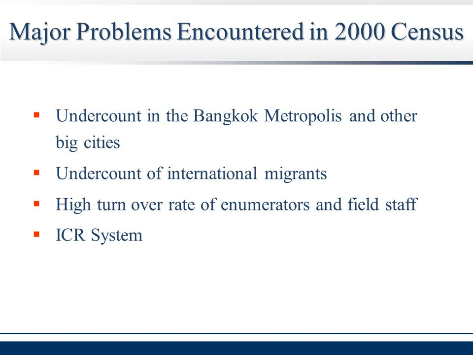 Major Problems Encountered in 2000 Census  Undercount in the Bangkok Metropolis and other big cities  Undercount of international migrants  High turn over rate of enumerators and field staff  ICR System