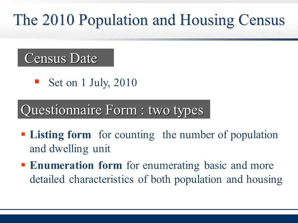  Listing form for counting the number of population and dwelling unit  Enumeration form for enumerating basic and more detailed characteristics of both population and housing The 2010 Population and Housing Census Questionnaire Form : two types  Set on 1 July, 2010 Census Date Census Date