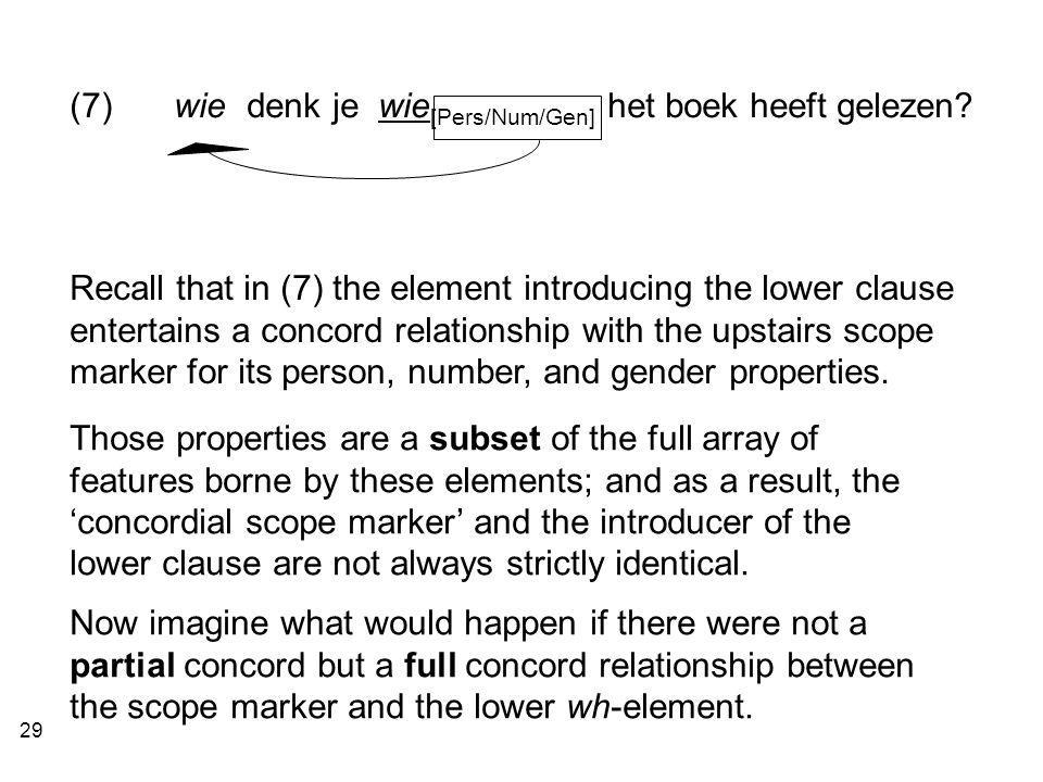 29 Recall that in (7) the element introducing the lower clause entertains a concord relationship with the upstairs scope marker for its person, number, and gender properties.