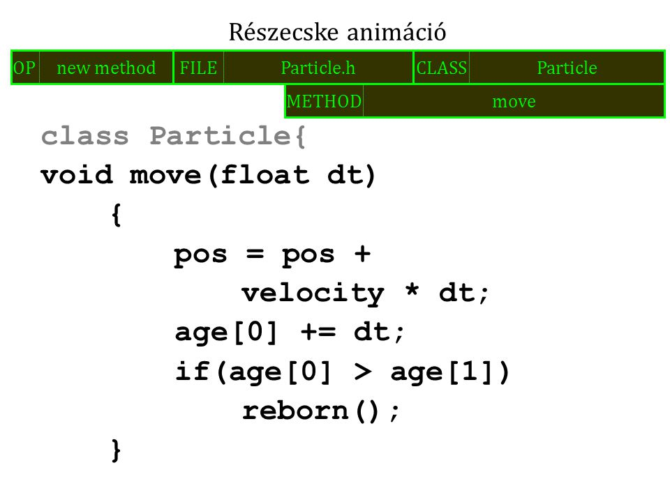 class Particle{ void move(float dt) { pos = pos + velocity * dt; age[0] += dt; if(age[0] > age[1]) reborn(); } Részecske animáció FILEParticle.hOPnew methodCLASSParticle METHODmove