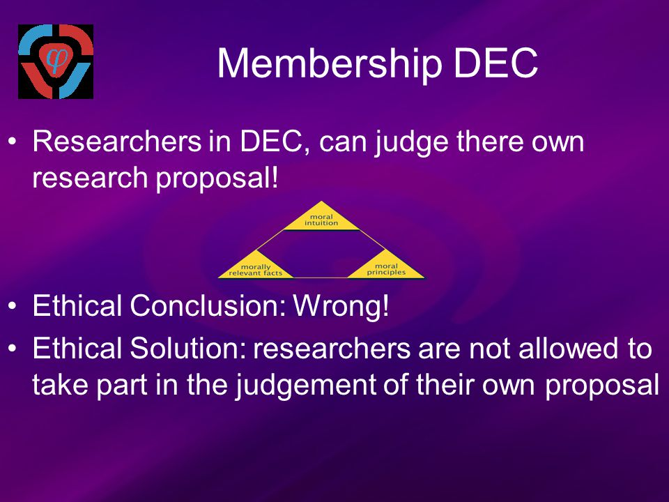 Membership DEC Researchers in DEC, can judge there own research proposal.
