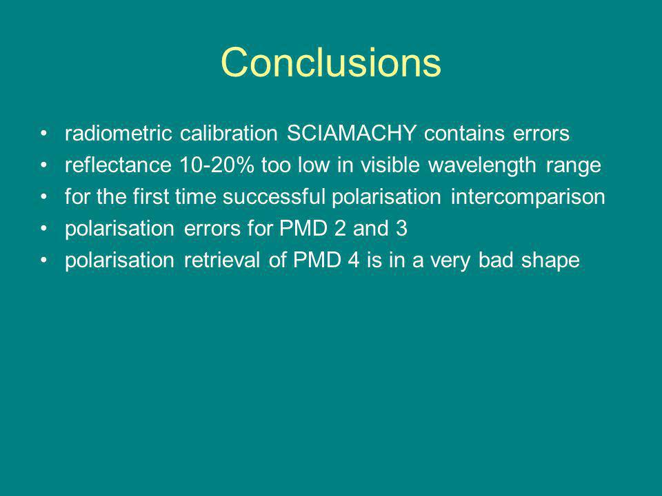 Conclusions radiometric calibration SCIAMACHY contains errors reflectance 10-20% too low in visible wavelength range for the first time successful polarisation intercomparison polarisation errors for PMD 2 and 3 polarisation retrieval of PMD 4 is in a very bad shape