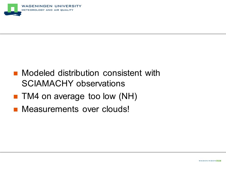 Modeled distribution consistent with SCIAMACHY observations TM4 on average too low (NH) Measurements over clouds!