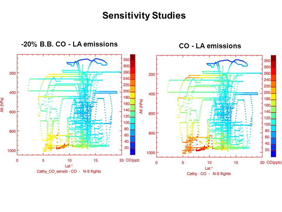 CO - LA emissions -20% B.B. CO - LA emissions Sensitivity Studies